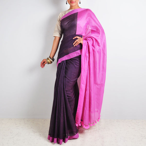 Purple Checks Saree