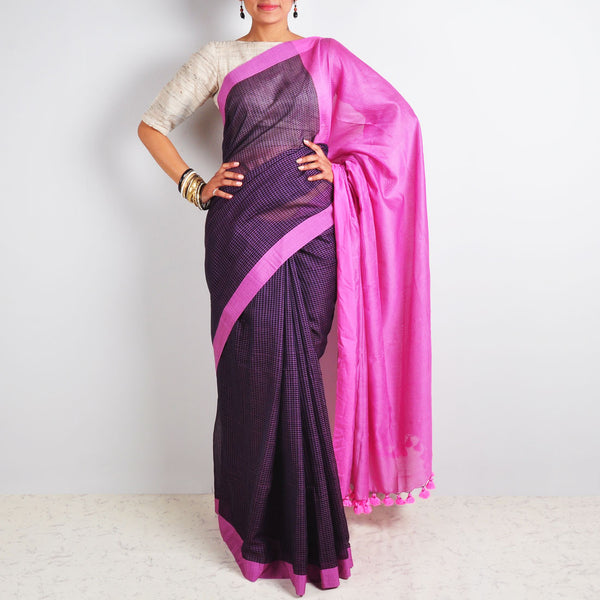 Purple Checks Saree by Reubenbright Clothing