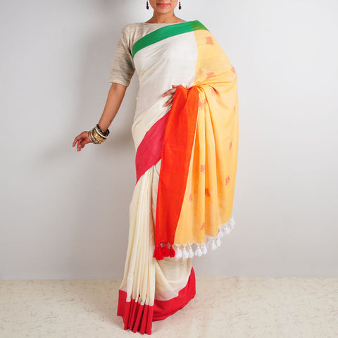 Green & Red Saree by Reubenbright Clothing