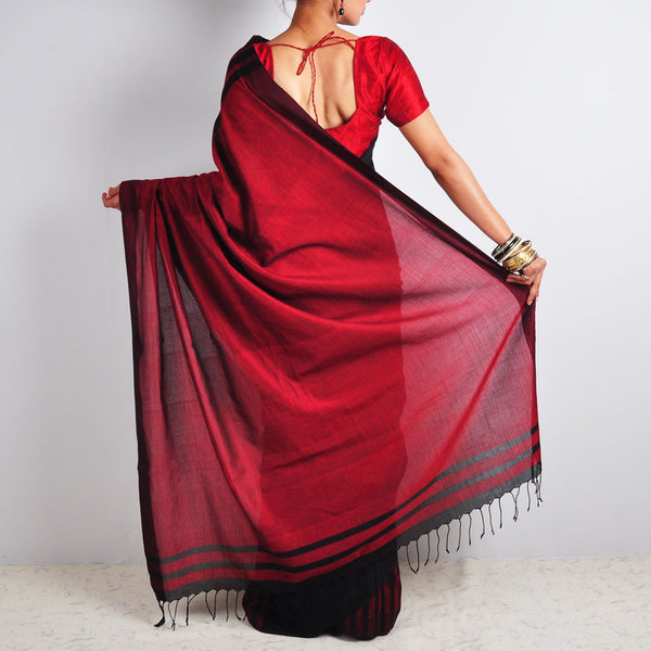 Striped Black & Red Saree