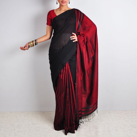 Striped Black & Red Saree by Reubenbright Clothing