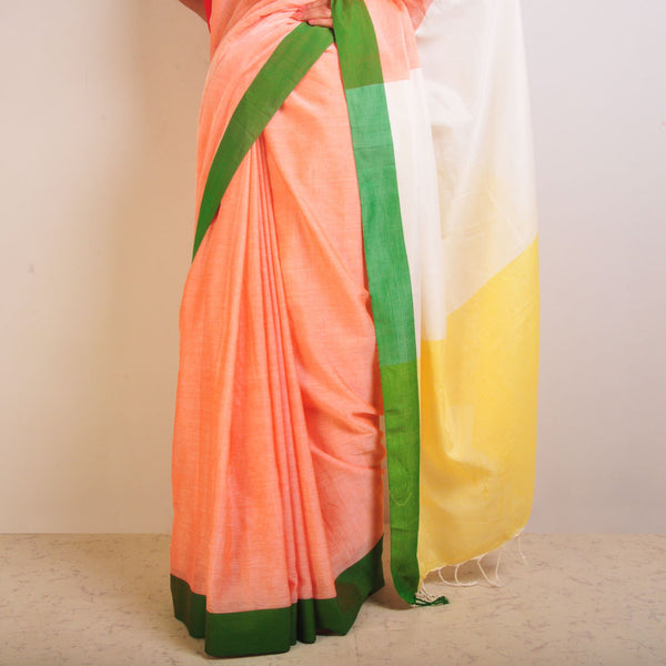 Yellow And Peach Handwoven Cotton Sari