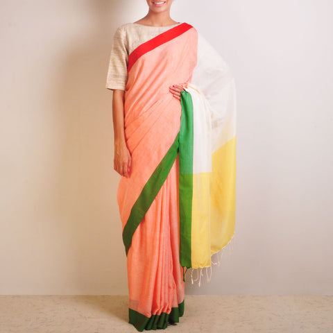 Yellow And Peach Handwoven Cotton Sari by Reubenbright Clothing