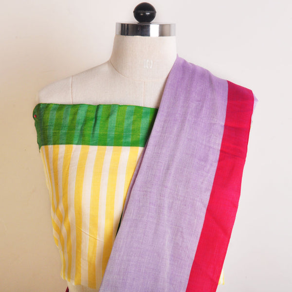 Yellow And Purple Handwoven Cotton Sari