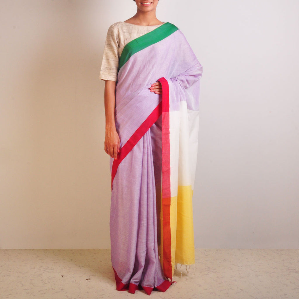 Yellow And Purple Handwoven Cotton Sari by Reubenbright Clothing