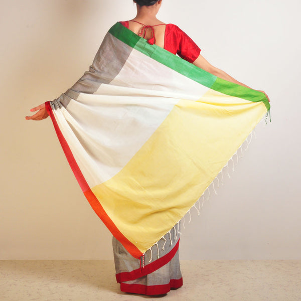 Yellow And Grey Handwoven Cotton Sari