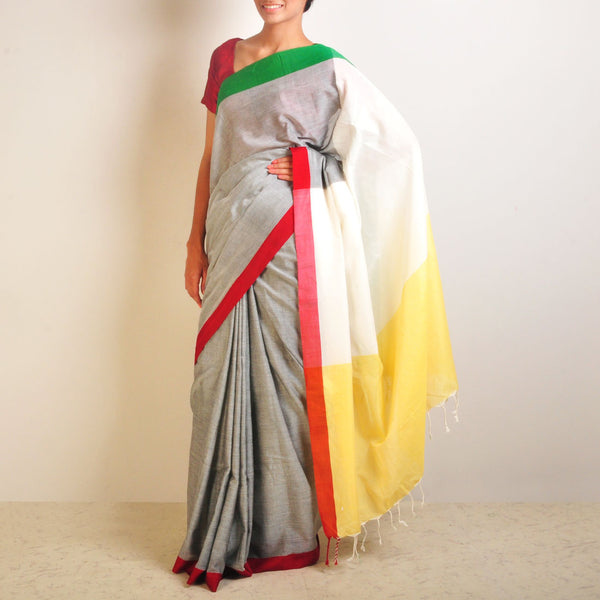 Yellow And Grey Handwoven Cotton Sari by Reubenbright Clothing