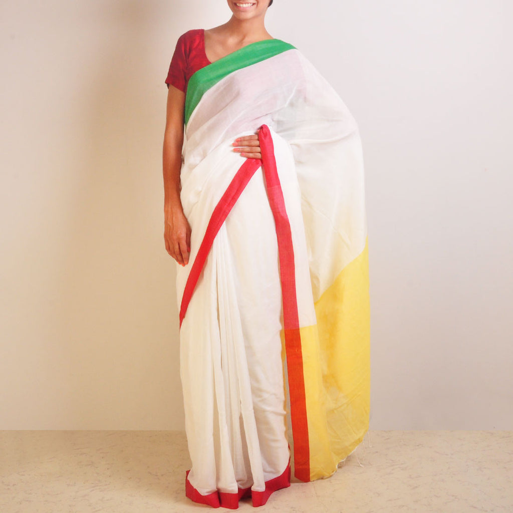Yellow And White Handwoven Cotton Sari by Reubenbright Clothing