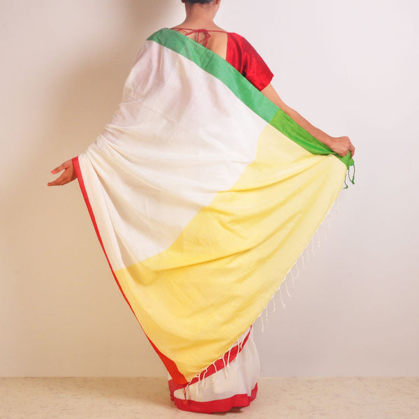 Yellow And White Handwoven Cotton Sari