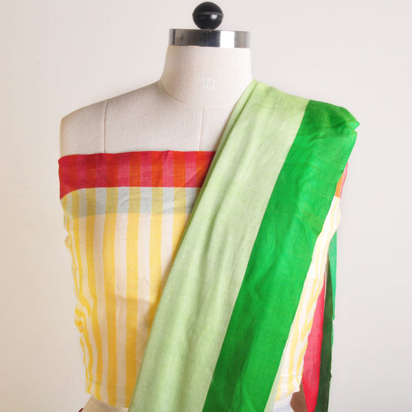 Yellow And Green Handwoven Cotton Sari