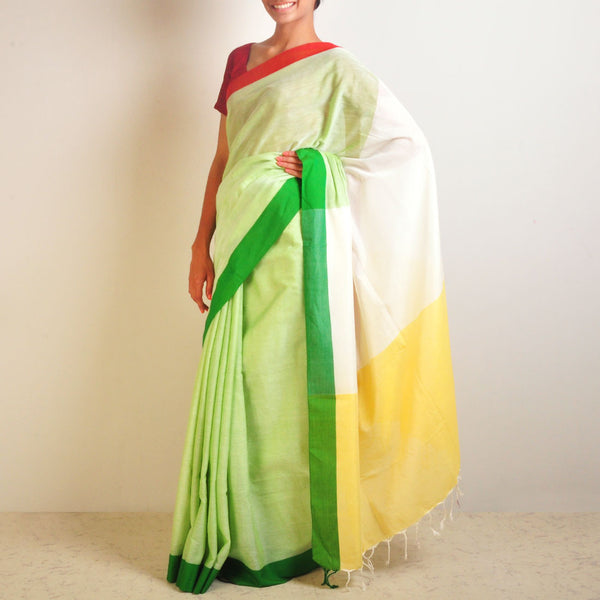 Yellow And Green Handwoven Cotton Sari by Reubenbright Clothing