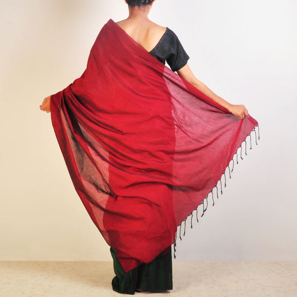Red And Green Striped Handwoven Cotton Sari