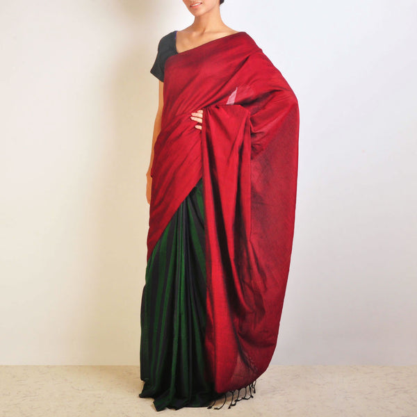 Red And Green Striped Handwoven Cotton Sari by Reubenbright Clothing