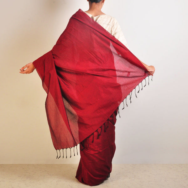 Red And Grey Striped Handwoven Cotton Sari