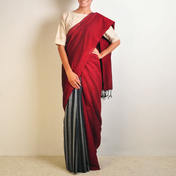 Red And Grey Striped Handwoven Cotton Sari by Reubenbright Clothing