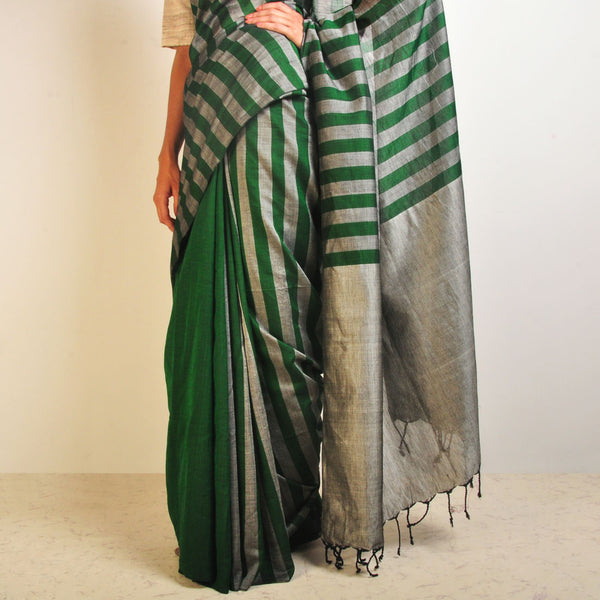 Grey And Green Striped Handwoven Cotton Sari