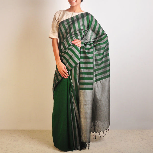 Grey And Green Striped Handwoven Cotton Sari by Reubenbright Clothing