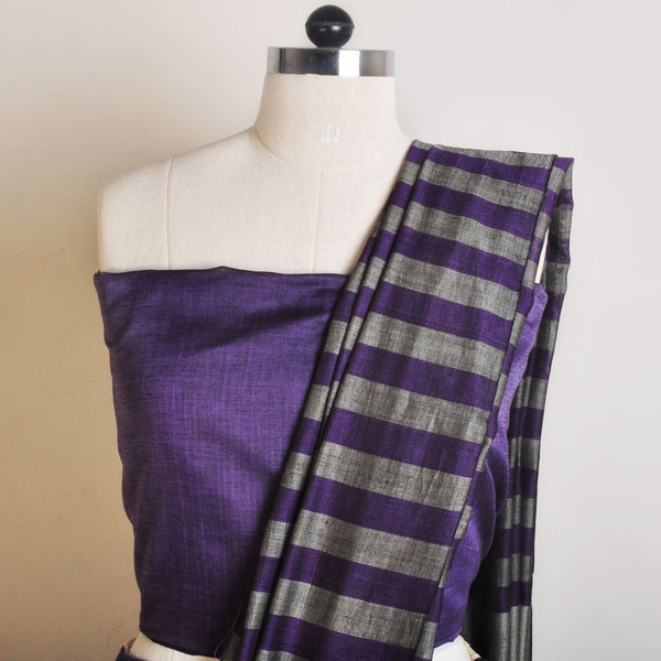Grey And Purple Striped Handwoven Cotton Sari