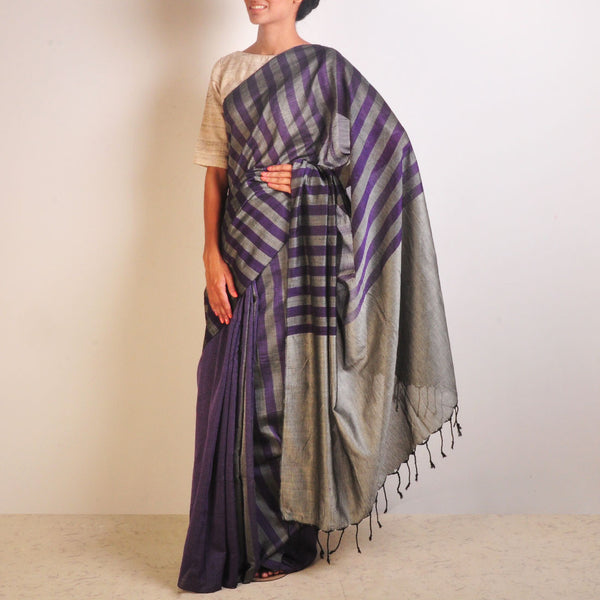 Grey And Purple Striped Handwoven Cotton Sari by Reubenbright Clothing