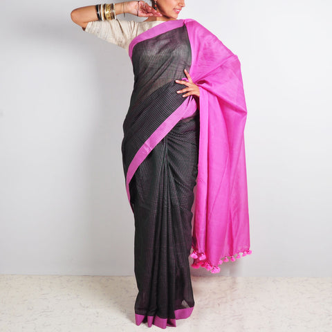 Black Checks Saree by Reubenbright Clothing