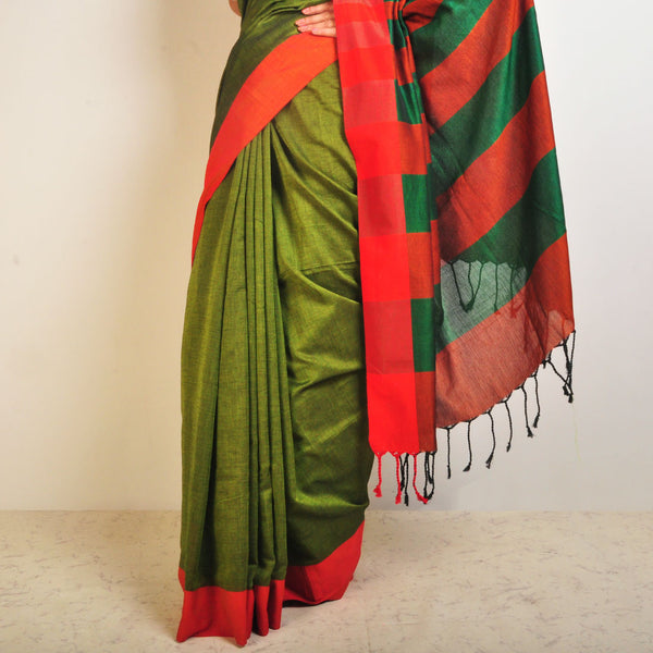 Green And Orange Handwoven Cotton Sari