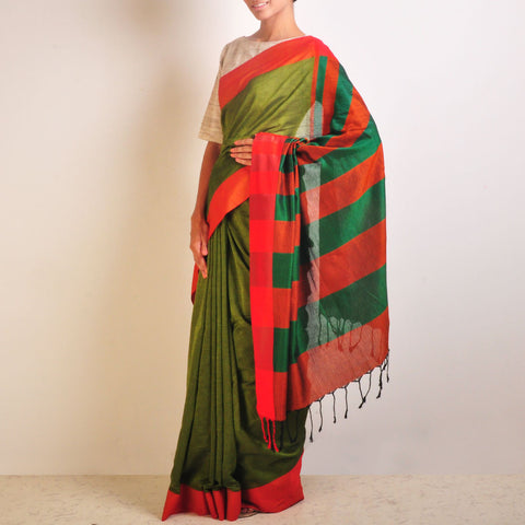 Green And Orange Handwoven Cotton Sari by Reubenbright Clothing