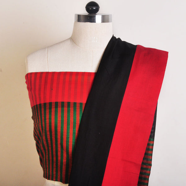 Black And Orange Handwoven Cotton Sari