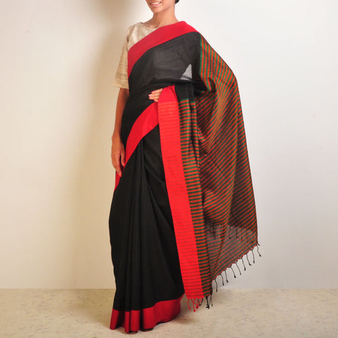 Black And Orange Handwoven Cotton Sari by Reubenbright Clothing