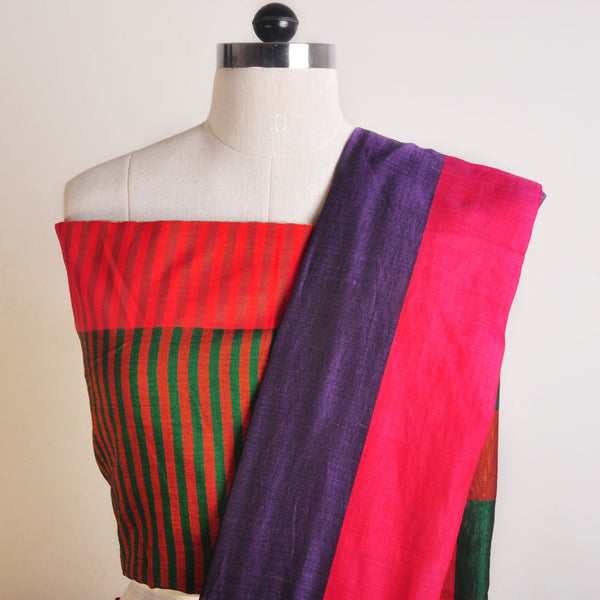 Purple And Orange Handwoven Cotton Sari