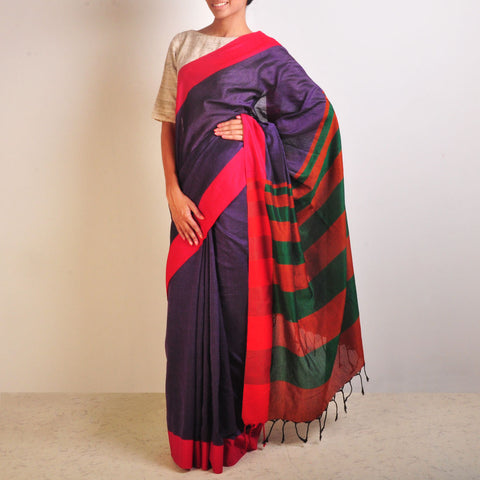 Purple And Orange Handwoven Cotton Sari by Reubenbright Clothing