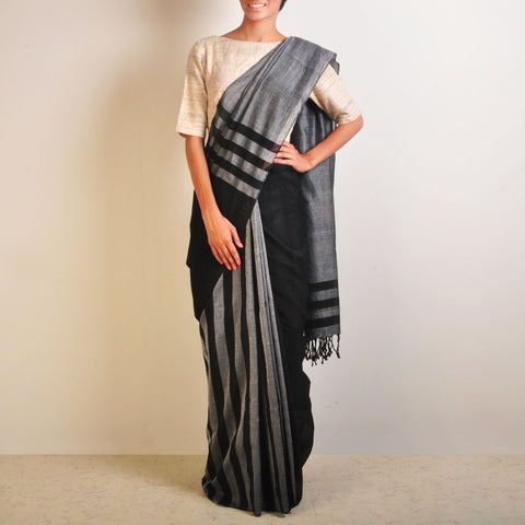 Grey And Black Striped Handwoven Cotton Sari by Reubenbright Clothing