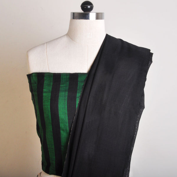 Green And Black Striped Handwoven Cotton Sari