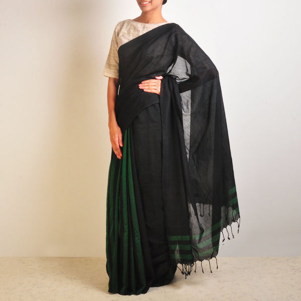 Green And Black Striped Handwoven Cotton Sari by Reubenbright Clothing