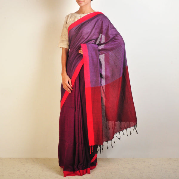 Purple Handwoven Cotton Sari