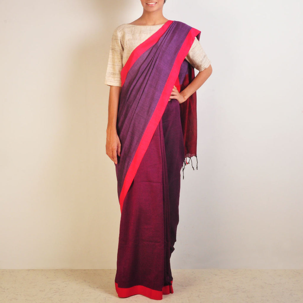 Purple Handwoven Cotton Sari by Reubenbright Clothing