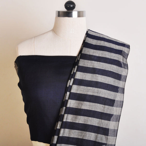 Grey And Indigo Handwoven Cotton Sari