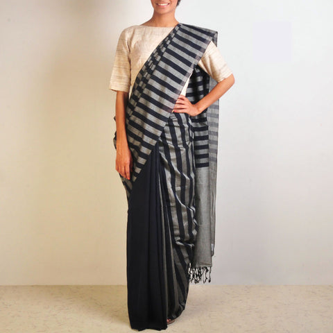 Grey And Indigo Handwoven Cotton Sari by Reubenbright Clothing
