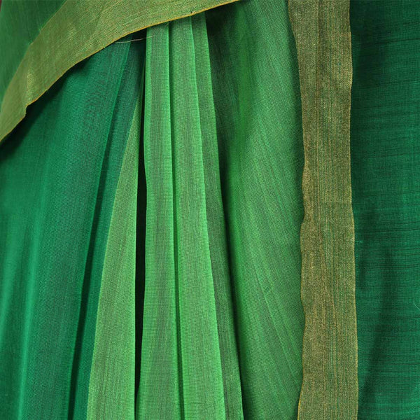 Green Handwoven Cotton Silk Saree With Zari Border