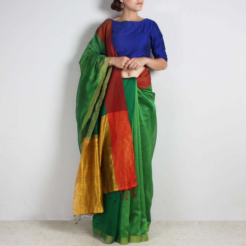 Green Handwoven Cotton Silk Saree With Zari Border by Reubenbright Clothing