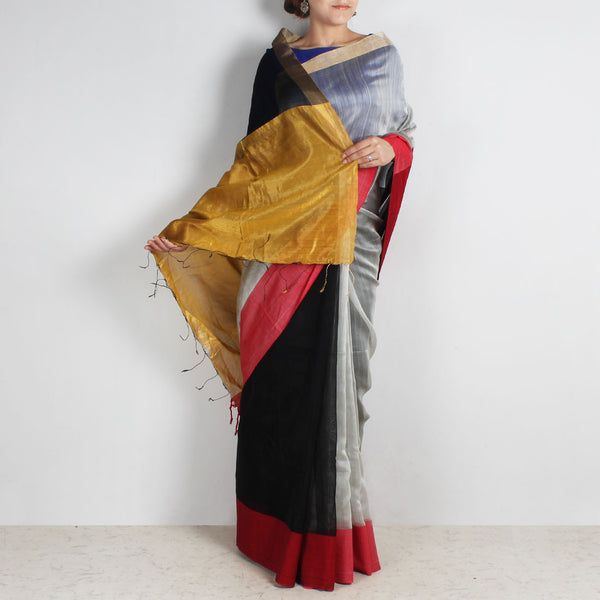 Black & Grey Handwoven Cotton Silk Saree With Zari Border