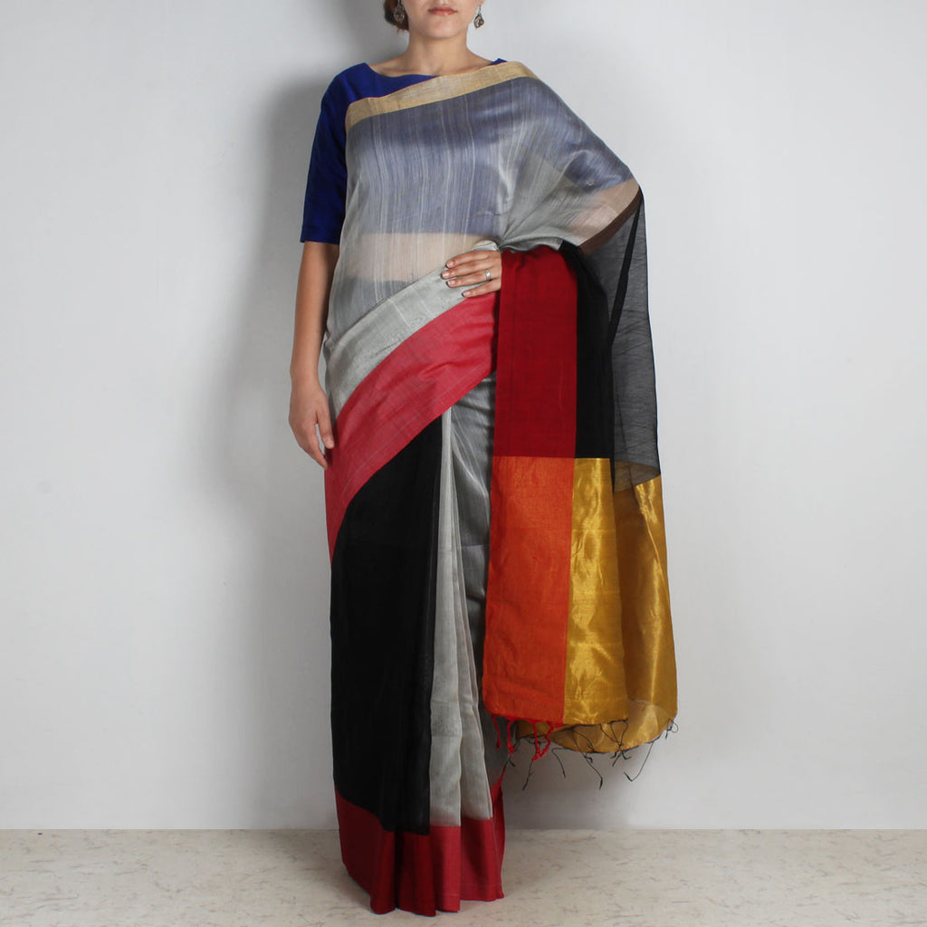 Black & Grey Handwoven Cotton Silk Saree With Zari Border by Reubenbright Clothing