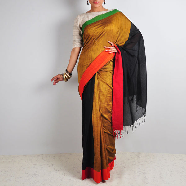 Hand Woven Black & Striped Saree by Reubenbright Clothing