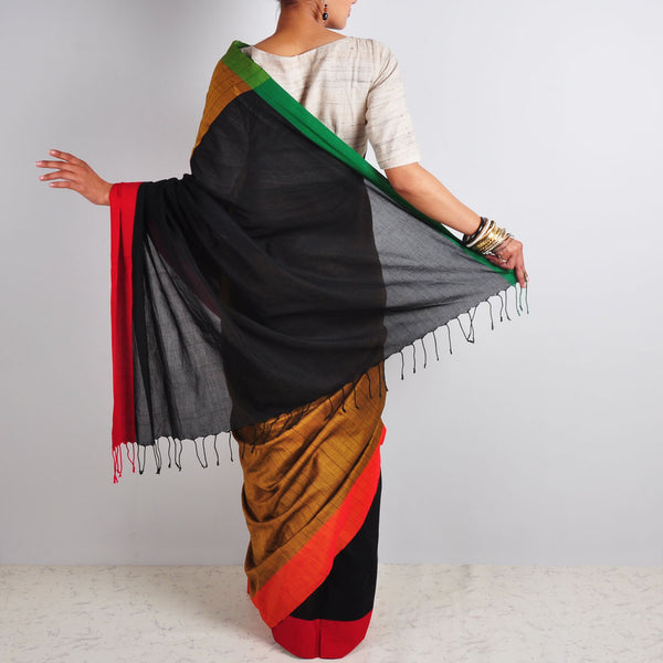 Hand Woven Black & Striped Saree