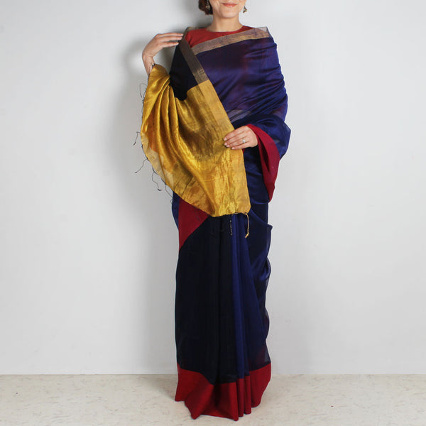 Indigo Handwoven Cotton Silk Saree With Zari Border