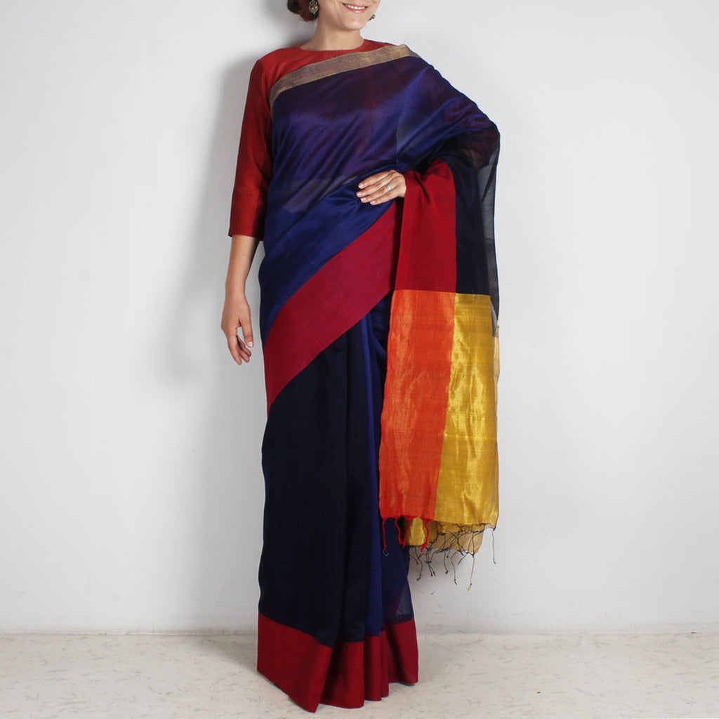 Indigo Handwoven Cotton Silk Saree With Zari Border by Reubenbright Clothing