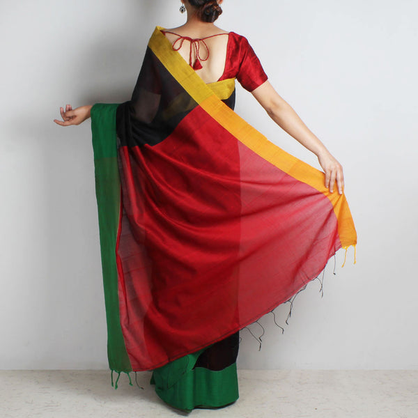Black Handwoven Khadi Silk Saree With Yellow & Green Border