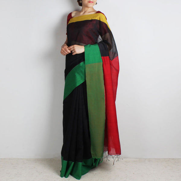 Black Handwoven Khadi Silk Saree With Yellow & Green Border by Reubenbright Clothing