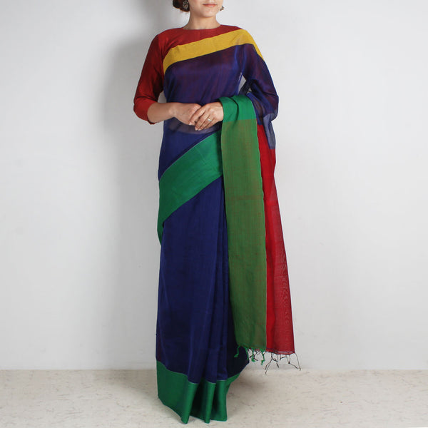 Indigo Handwoven Khadi Silk Saree With Green & Yellow Border by Reubenbright Clothing