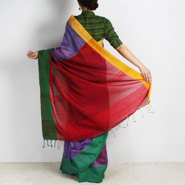 Purple Handwoven Khadi Silk Saree With Yellow & Green Border
