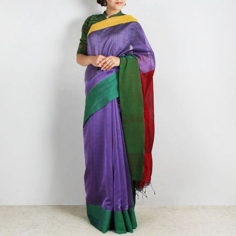 Purple Handwoven Khadi Silk Saree With Yellow & Green Border by Reubenbright Clothing